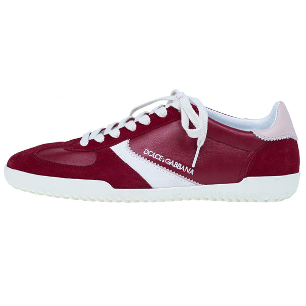 Dolce and Gabbana Red Suede and Leather Sneakers Size 42.5