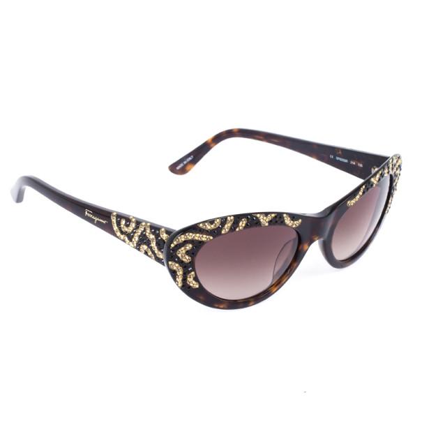 Salvatore Ferragamo Brown and Gold Limited Edition 625SR Womens Cat Eye Sunglasses