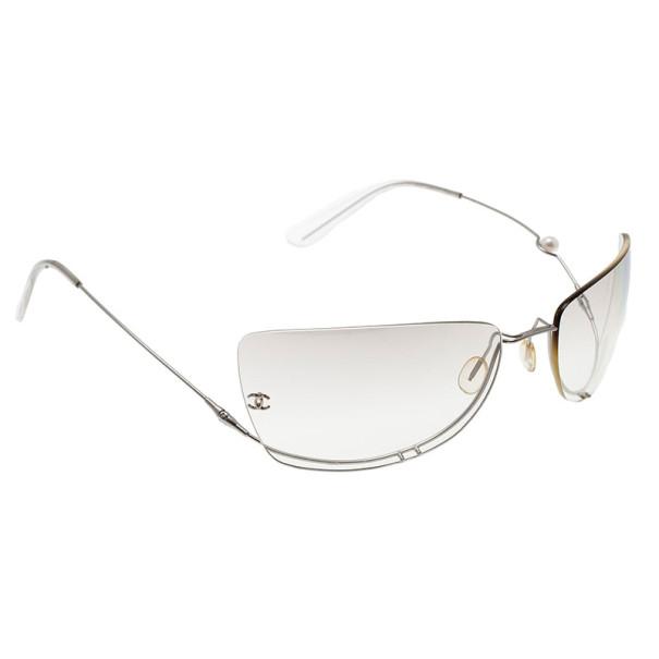 Chanel Silver 4053 Rimless Pearl Sunglasses