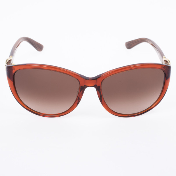 Salvatore Ferragamo Crystal Rust Brown 614S Cat Eye Women's Sunglasses