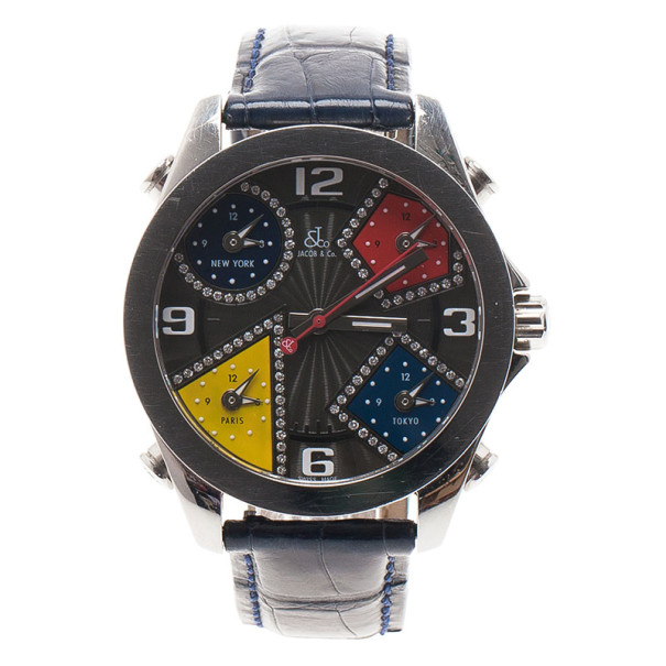Jacob & Co. Multicolor Stainless Steel Five Time Zones Unisex Wristwatch 40MM