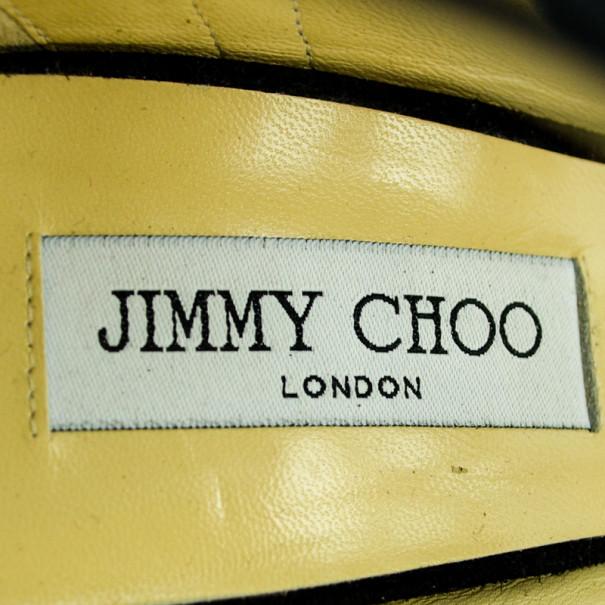 Jimmy Choo Black Suede & Silver Sequins 'Tempest' Sandals Size 40.5