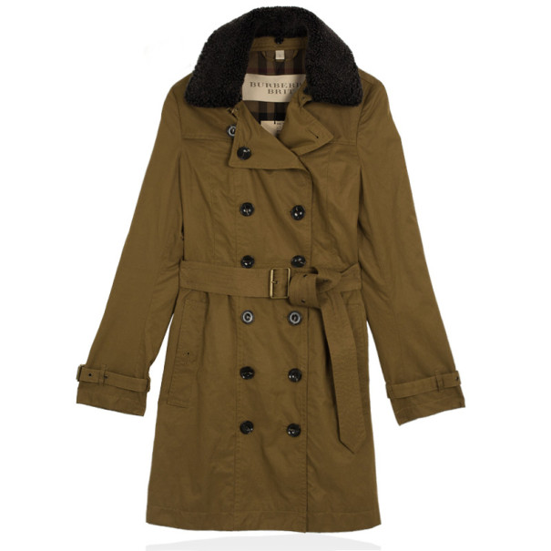 Burberry Long Shearling Collar Trench Coat