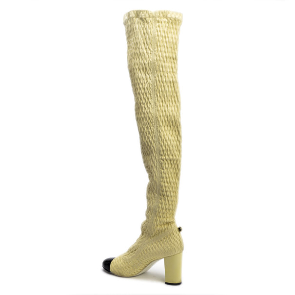 Chanel Cream Over The Knee Boots Size 38.5