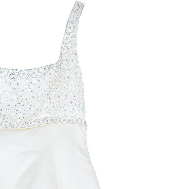 Reem Acra Scoop Neck Embellished Dress L