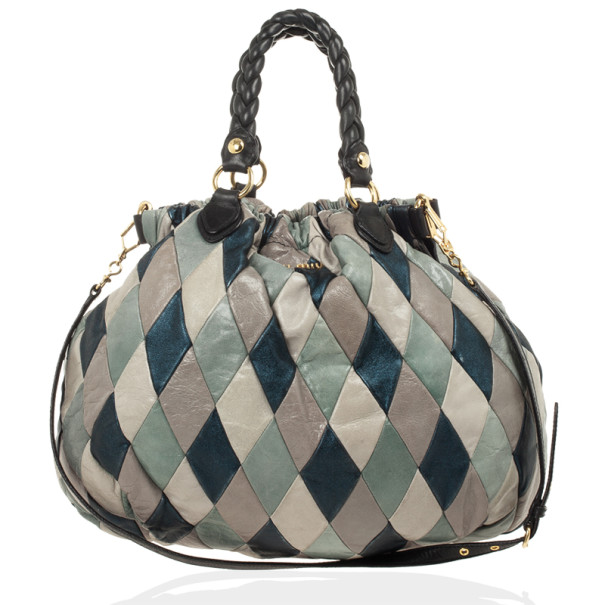 Miu Miu Quilted Leather Harlequin Hobo