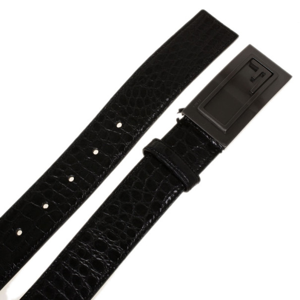 Fendi Black Croc Embossed Leather Belt 95CM