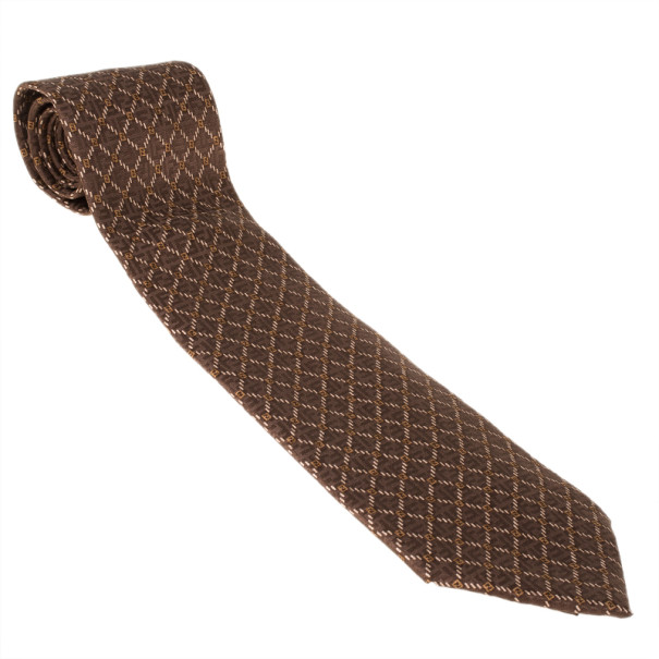 Fendi Brown FF Silk Embroidered Tie