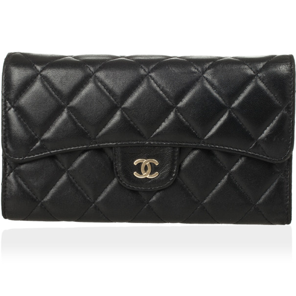 Chanel Black Quilted Lambskin Classic Long Wallet