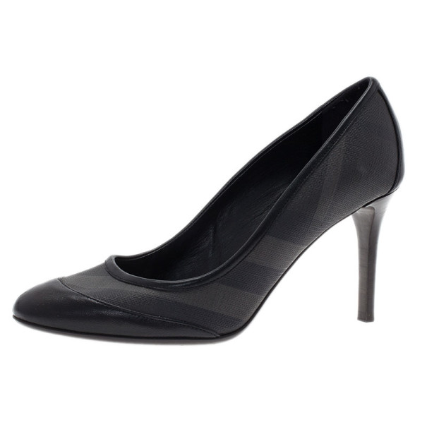 Burberry Black Smoked Check Canvas Pumps Size 37