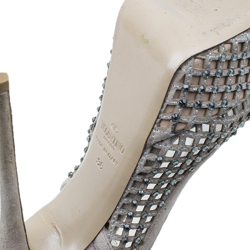 Valentino Beige Lattice Crystals Studded Slingback Platform Sandals Size 38