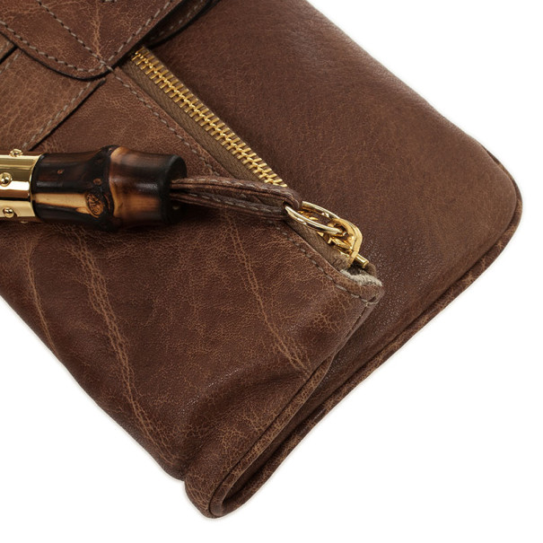 Gucci Brown Leather 'Lucy' Foldover Clutch