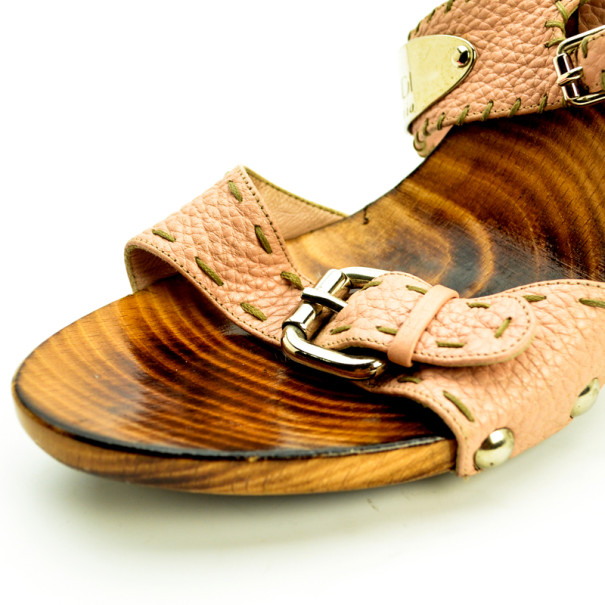 Fendi Pink Leather Buckle Wooden Mules Size 40