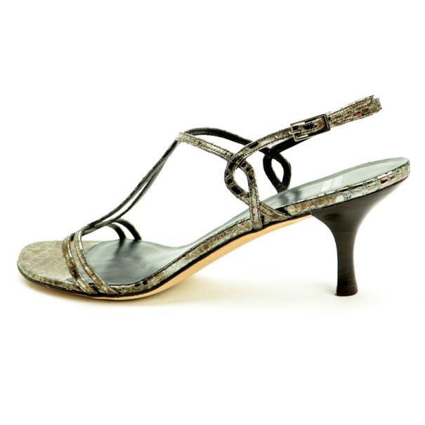 Stuart Weitzman Metallic Croc Embossed Esteem Sandals Size 41.5