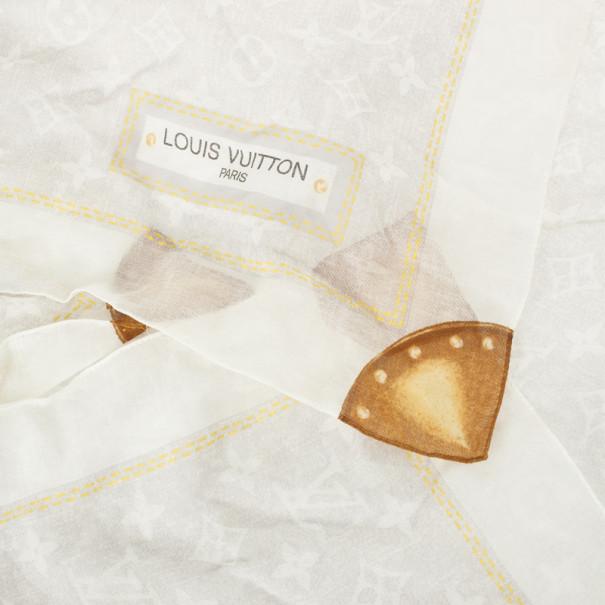 Louis Vuitton White Monogram Square Scarf