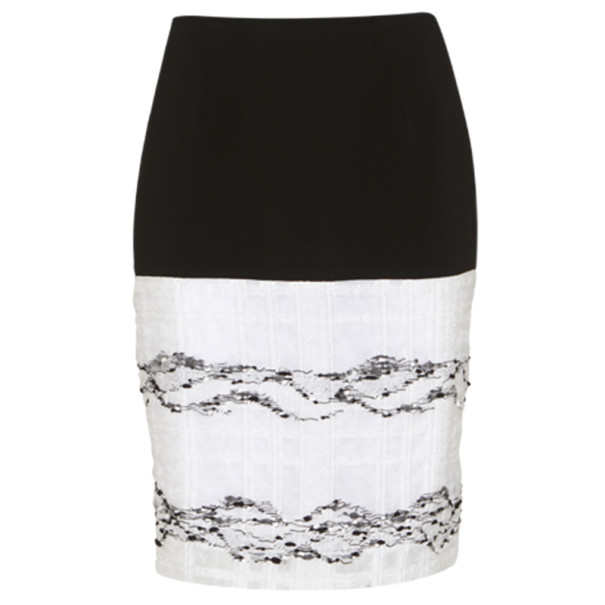 Prabal Gurung Black and White Wool-Crepe Organza-Trim Skirt L