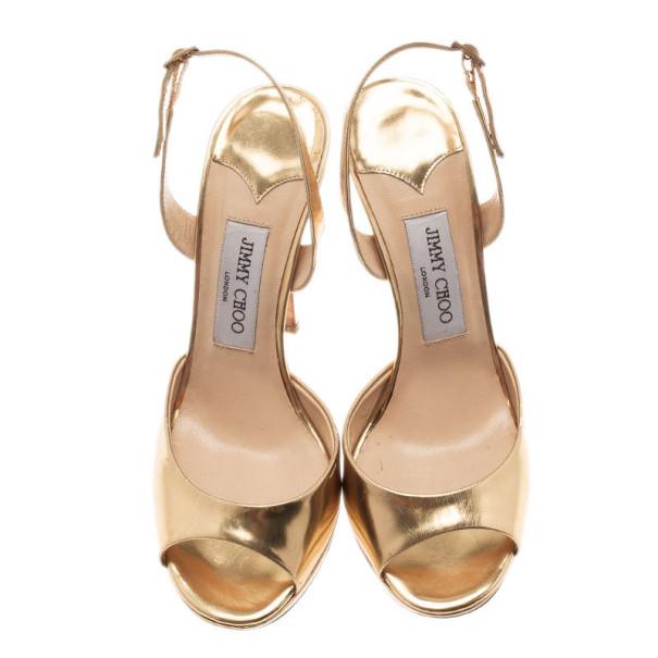 Jimmy Choo Gold Leather Slingback Sandals Size 38
