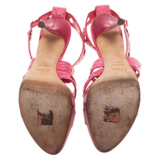 Dior Pink Leather Dior Bubble Platform Sandals Size 39.5