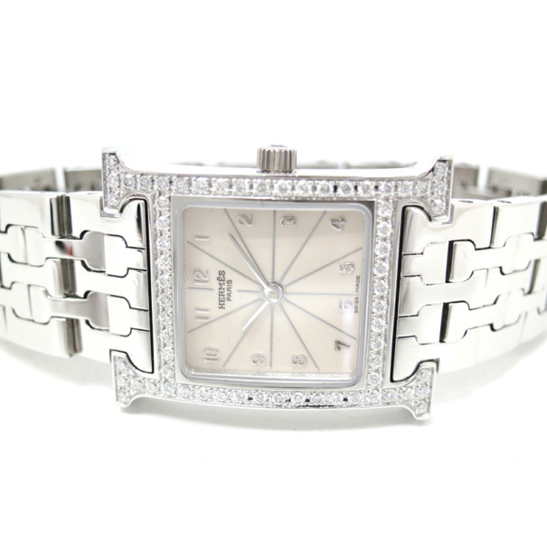Hermes Cream Stainless Steel H Women's Wristwatch 22MM
