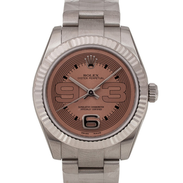 Rolex Pink Oyster Perpetual SS Womens Wristwatch 31 MM
