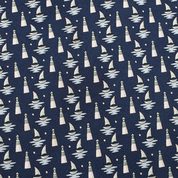 Salvatore Ferragamo Blue Sail Boat and Lighthouse Print Tie