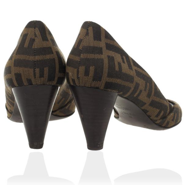 Fendi Zucca Canvas Peep Toe Pumps Size 38