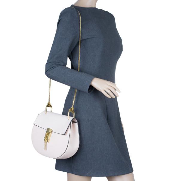 Chloe Pink Leather Medium Drew Bag