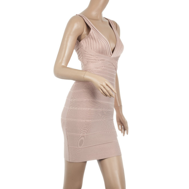 Herve Leger Nude Bandage Dress S