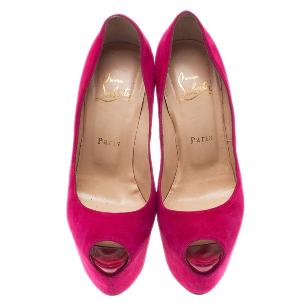 Christian Louboutin Pink Suede Highness Peep Toe Platform Pumps Size 37