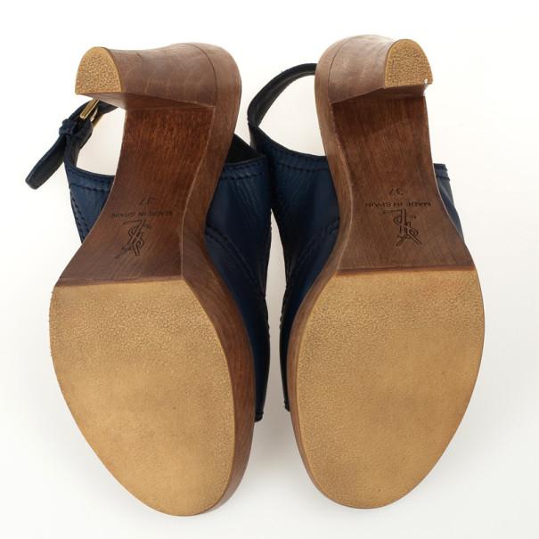 Yves Saint Laurent Blue Leather Wooden Slingback Sandals Size 37