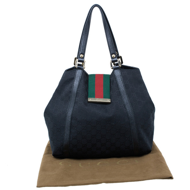 Gucci Black GG Canvas Ladies Web Large Hobo