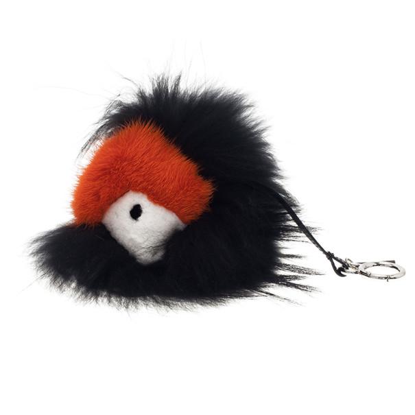 Fendi Black and Orange Monster Fur Keyring