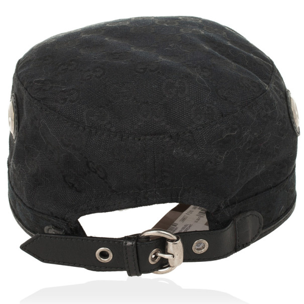 Gucci Black Guccissima Cap With Grommets and Horsebit Buckle