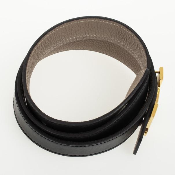 Hermes Black Leather H Logo Constance Belt 80 CM
