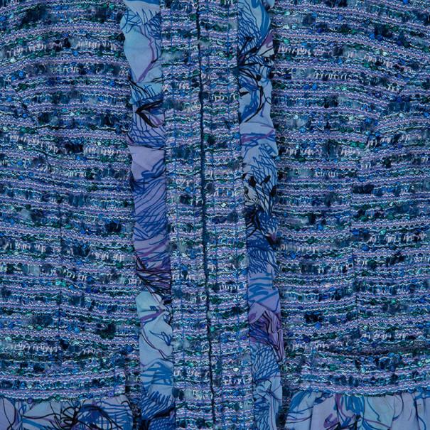 St. John Blue Tweed Skirt Suit S