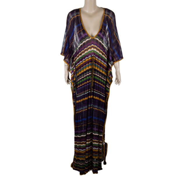 Missoni Purple Crochet Knit Long Beach Dress M