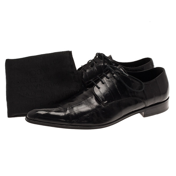 Dolce and Gabbana Black Patent Leather Pointed Toe Oxfords Size 39.5