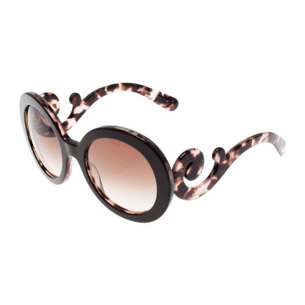 Prada Brown Tortoise Frame Baroque Round Sunglasses