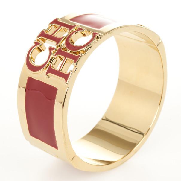 Carolina Herrera CH logo Red Cuff Bracelet