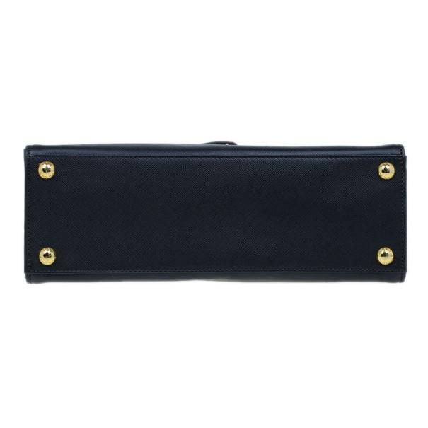 Prada Black Saffiano Leather Framed Top Handle Tote