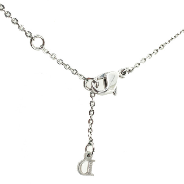 Christian Dior Signature Rhinestones Pendants Necklace