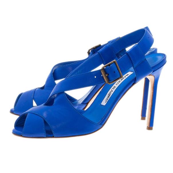 Manolo Blahnik Blue Leather Criss Cross Sandals Size 38.5