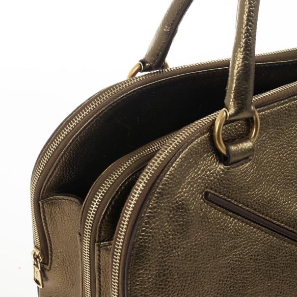 Yves Saint Laurent Metallic Bronze Leather Sac 32 Tote Bag