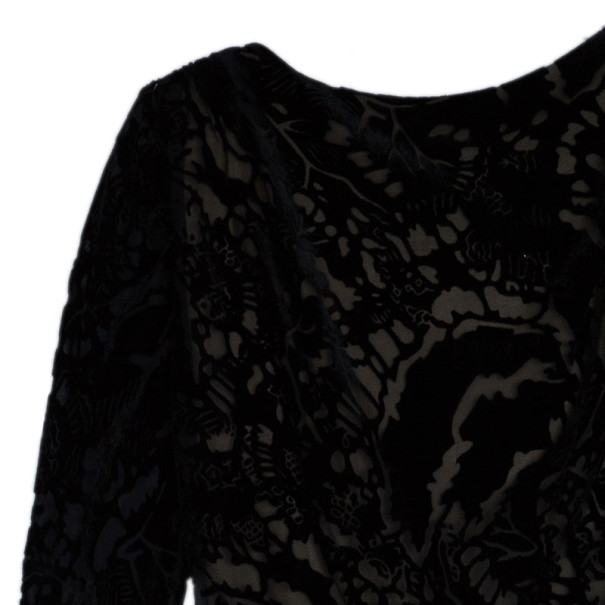 Tadashi Shoji Soft Velvet Embroidered Gown S