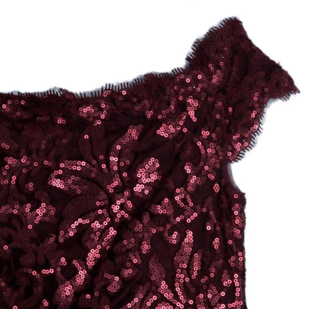 Tadashi Shoji Red Sequin Merlot Gown L
