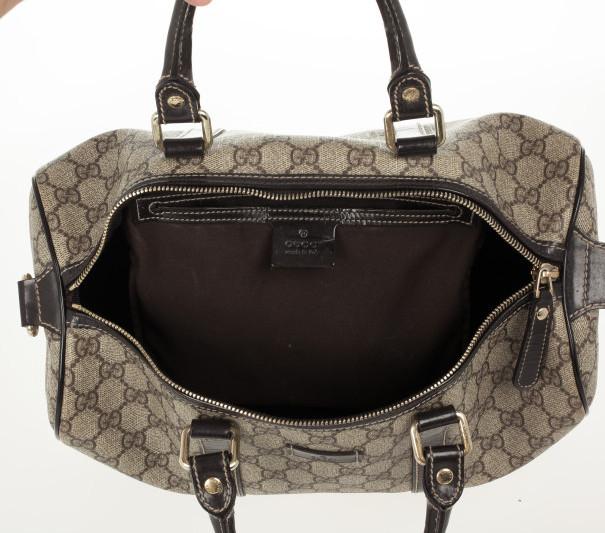 Gucci Monogram Brown Trim Boston Bag