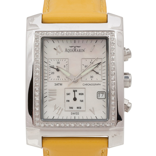 AquaMarin Diamond Mother of Pearl SS Leather Chronograph Unisex Wristwatch 38 MM