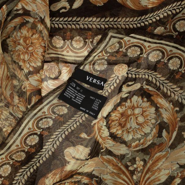 Versace Leopard Print Silk Oblong Scarf