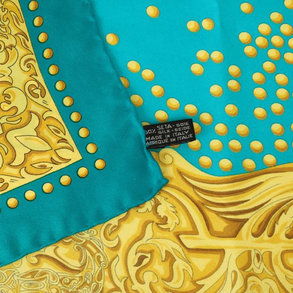 Balenciaga Yellow and Blue Silk Square Scarf