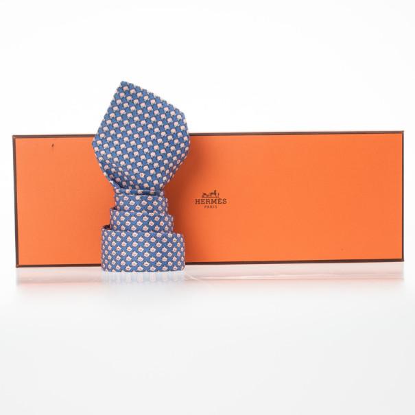 Hermes Blue Fish And Crab Print 'Sea Date' Silk Tie
